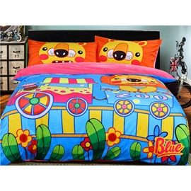 Cartoon Lion in Zoo Pattern Blue Kids Polyester 4-Piece Duvet Cover Sets