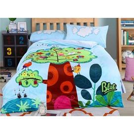 Cartoon Birds Family Pattern Kids Polyester 4-Piece Duvet Cover Sets