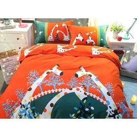 Pretty Cute Giraffe Print 4-Piece Cotton Duvet Cover Sets