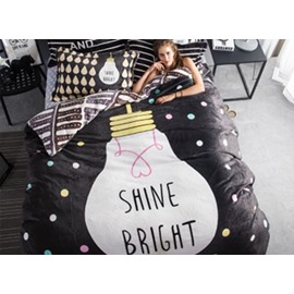 Creative Bulb and Polka Dot Print 4-Piece Flannel Duvet Cover Sets