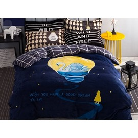 Dreamy Swan Print 4-Piece Flannel Duvet Cover Sets