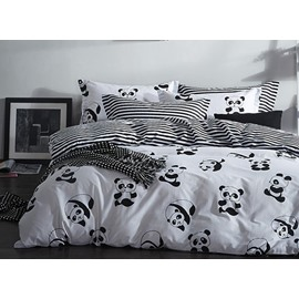 Panda Print Black and White Cotton 4-Piece Bedding Sets/Duvet Covers