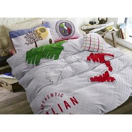 Stylish Map Print 4-Piece Cotton Duvet Cover Sets