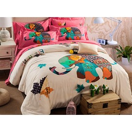 Creative Colorful Elephant Pattern Kids Cotton 4-Piece Duvet Cover Sets