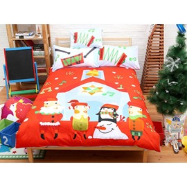 Christmas Style Happy Kids with Snowman Pattern 4-Piece Duvet Cover Sets