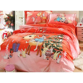 Christmas Style Happy Girl with Cartoon Animals Pattern 4-Piece Cotton Duvet Cover Sets