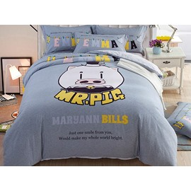 Cute Mr Pig Pattern Kids Cotton 4-Piece Duvet Cover Sets