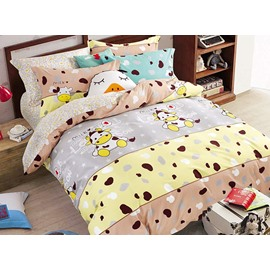 Cartoon Cow Print 3-Piece Cotton Duvet Cover Sets