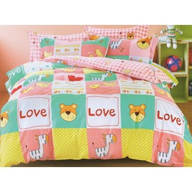 Happy Animals Pattern 3-Piece Cotton Duvet Cover Sets