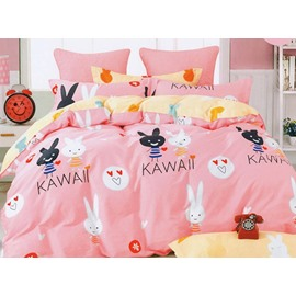 Lovely Rabbits Print Two Colors for Choose 3-Piece Cotton Duvet Cover Sets