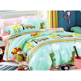 Bright Lion and Bus Print 3-Piece Cotton Duvet Cover Sets