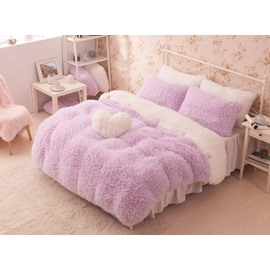 Pretty Soft Princess Style Purple Girls 4-Piece Duvet Cover Set