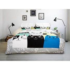 Special Cartoon Cats Pattern Kids 4-Piece Duvet Cover Set