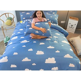 Pretty Cloud Pattern Light Sky Background Kids 4-Piece Duvet Cover Set