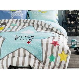 Stars Pattern Stripe Kids 100% Cotton 4-Piece Duvet Cover Sets