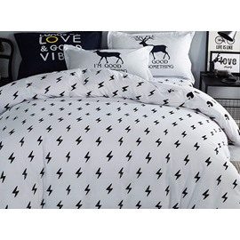 Concise Black Lightings Pattern Kids 100% Cotton 4-Piece Duvet Cover Sets