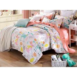 Happy Time Pattern 4 Pieces Kids Cotton Duvet Cover Sets
