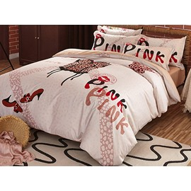 Fashion Pink Letters Print 4-Piece Cotton Duvet Cover Sets