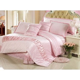 Soft Light Pink Suede 4-Piece Duvet Cover Sets