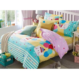 Adorable Cats with balloons Pattern Cotton 4-Piece Duvet Cover Set