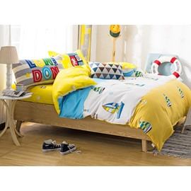 Cartoon Freischwimmer Pattern Cotton Kids 4-Piece Duvet Cover Set