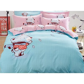 Super Soft Bear Baby Pattern Cotton 4-Piece Duvet Cover Set