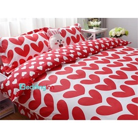 Valentine Style Red Hearts Pattern Cotton 4-Piece Duvet Cover Sets