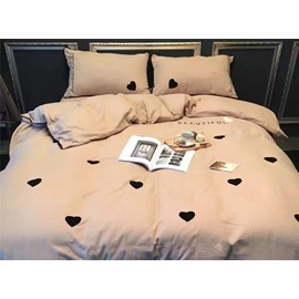 Charming Sweet Hearts Pattern Cotton 4-Piece Duvet Cover Sets