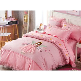 Faerie Pattern Cotton Princess Style 4 Pieces Pink Duvet Covers/Bedding Sets