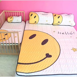 Summer Cool Smiling Face Ice Silk 3-Pieces Yellow Bedding Mat