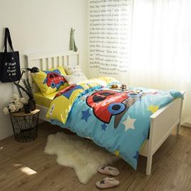 Little Cartoon Car Printed Cotton 3-Piece Duvet Covers/Bedding Sets