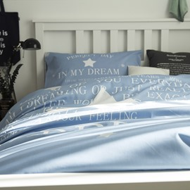 White Star Printed Cotton 3-Piece Light Blue Duvet Covers/Bedding Sets