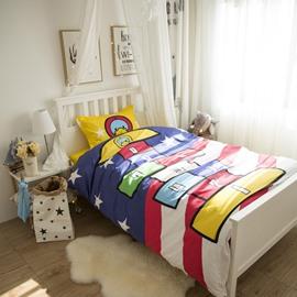 Duck and Squares Game Printed Cotton 3-Piece Duvet Covers/Bedding Sets