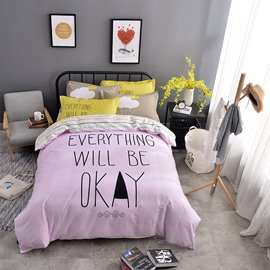 Letters Printed Cotton Light Pink Kids Duvet Covers/Bedding Sets