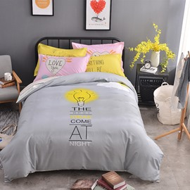 Bulb Printed Cotton Simple Style Gray Kids Duvet Covers/Bedding Sets