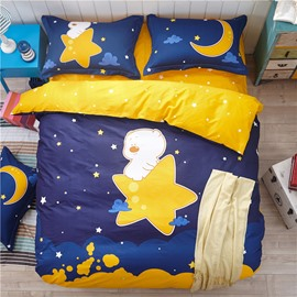 Bear and Star Printed Cotton Blue Kids Duvet Covers/Bedding Sets