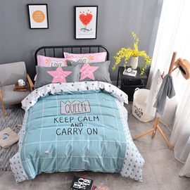 Letters and Grid Printed Cotton Blue Kids Duvet Covers/Bedding Sets