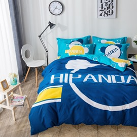 Letters Printed Cotton Simple Style Blue Kids Duvet Covers/Bedding Sets