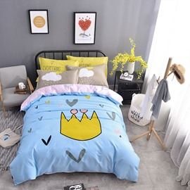 Crown Printed Cotton Light Blue Kids Duvet Covers/Bedding Sets