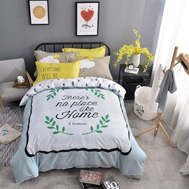 Letters and Green Leaves Printed Cotton Light Blue Kids Duvet Covers/Bedding Sets