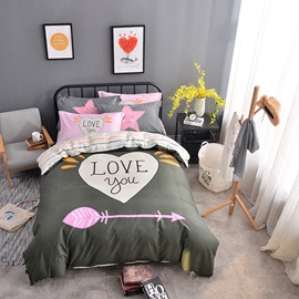 Heart Shape Printed Cotton Gray Kids Duvet Covers/Bedding Sets