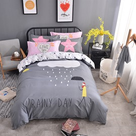 Clouds Printed Cotton Gray Kids Duvet Covers/Bedding Sets
