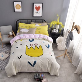 Crown Printed Cotton Beige Kids Duvet Covers/Bedding Sets