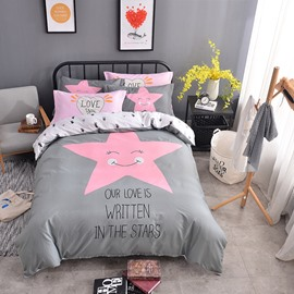 Pink Star Printed Cotton Gray Kids Duvet Covers/Bedding Sets