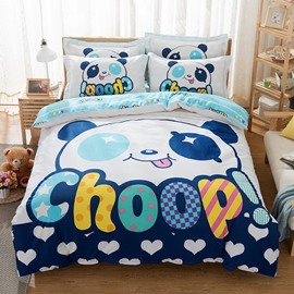 Cute Panda Printed Cotton White and Blue Kids Duvet Covers/Bedding Sets