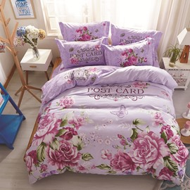 Roses Printed Cotton Light Purple Kids Duvet Covers/Bedding Sets