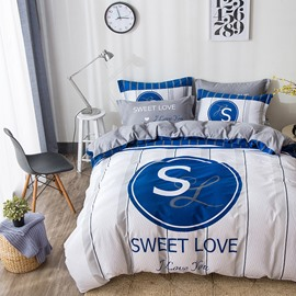 Sweet Love Printed Cotton White Kids Duvet Covers/Bedding Sets