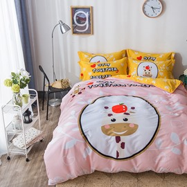 Cartoon Cow Printed Cotton Pink Kids Duvet Covers/Bedding Sets