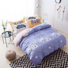Houses Printed Cotton Purple Kids Duvet Covers/Bedding Sets