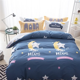 Stars and Moons Printed Cotton Blue Kids Duvet Covers/Bedding Sets